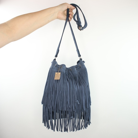 Brave Handbags - Brave Kipper Cyan Suede Fringed Bucket Bag